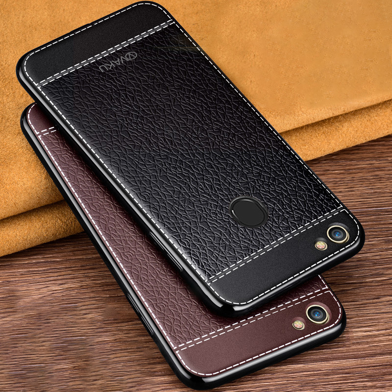 quite nice e0c8e bbdf5 Vaku ® Oppo F7 Leather Stitched Gold Electroplated Soft TPU Back Cover