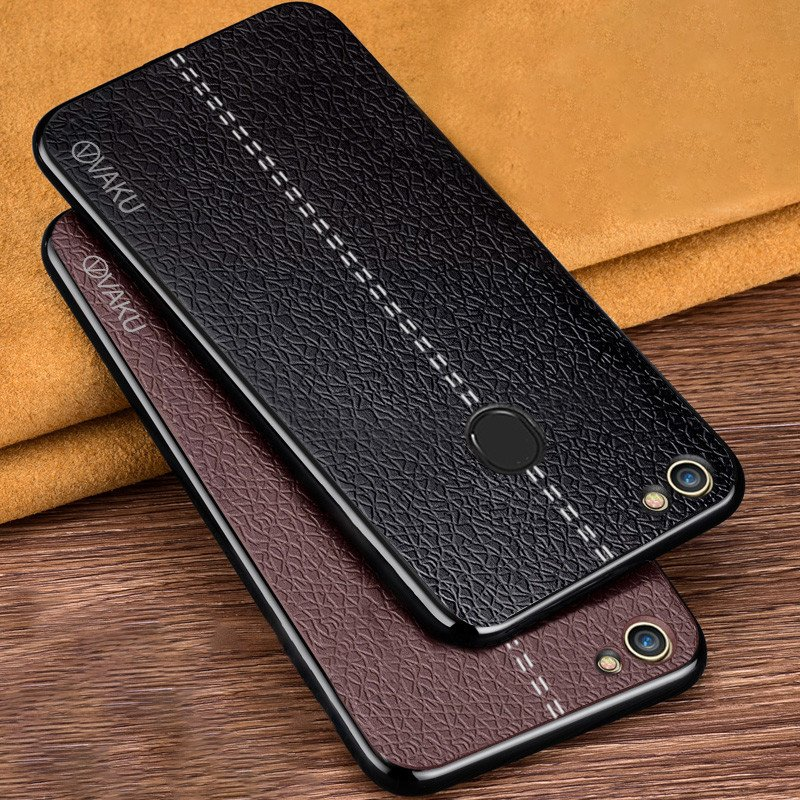 lowest price 7a9eb 0d119 Vaku ® Oppo F7 Lexza Series Double Stitch Leather Shell with Metallic  Camera Protection Back Cover