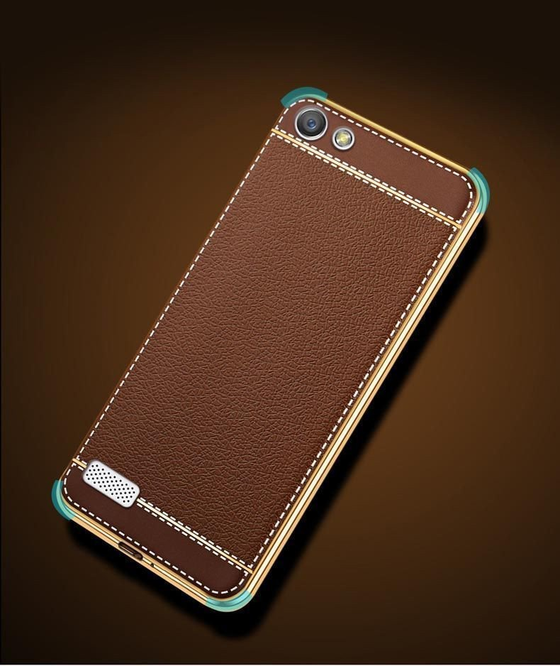 pretty nice 53e43 8d41a VAKU ® OPPO NEO 7 Leather Stiched Gold Electroplated Soft TPU Back Cover