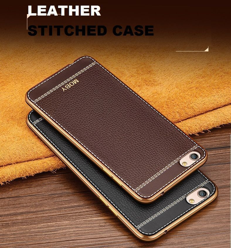 info for 589e4 92109 VAKU ® OPPO A57 Leather Stiched Gold Electroplated Soft TPU Back Cover