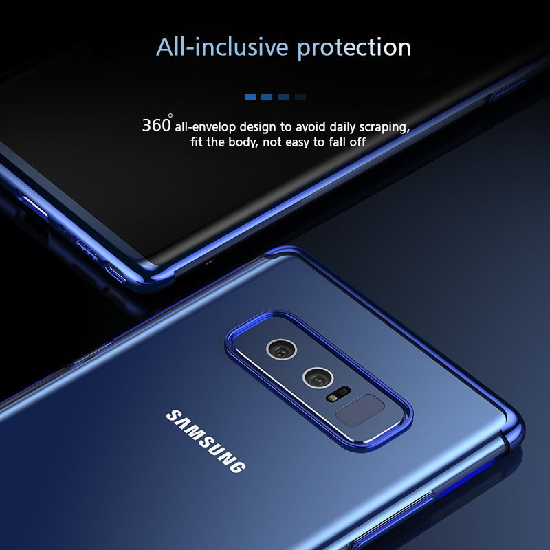 Vaku ® Samsung Galaxy Note 8 CAUSEWAY Series Electroplated Shine Bumper  Finish Full-View Display + Ultra-thin Transparent Back Cover