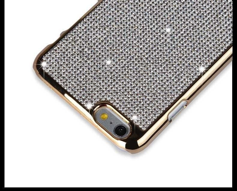 online store 54b44 7118e iSecret ® Apple iPhone 6 Plus / 6S Plus Luxury Swarovski Diamond Leather +  Gold Electroplating Back Cover