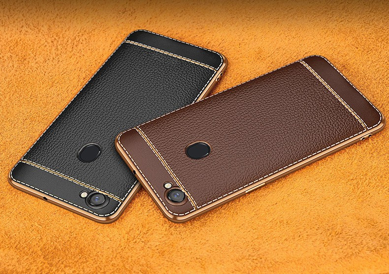 huge selection of 2ad61 e595f Vaku ® Oppo F5 Youth Leather Stitched Gold Electroplated Soft TPU Back Cover