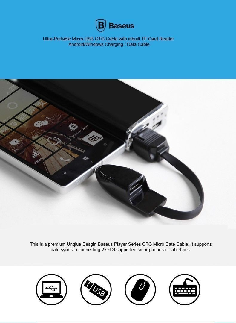 Baseus Ultra Portable Micro Usb Otg Cable With Inbuilt Tf Card Wiring Reader Android Windows Charging Data