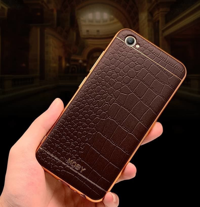 Vaku 174 Oppo F3 European Leather Stiched Gold Electroplated