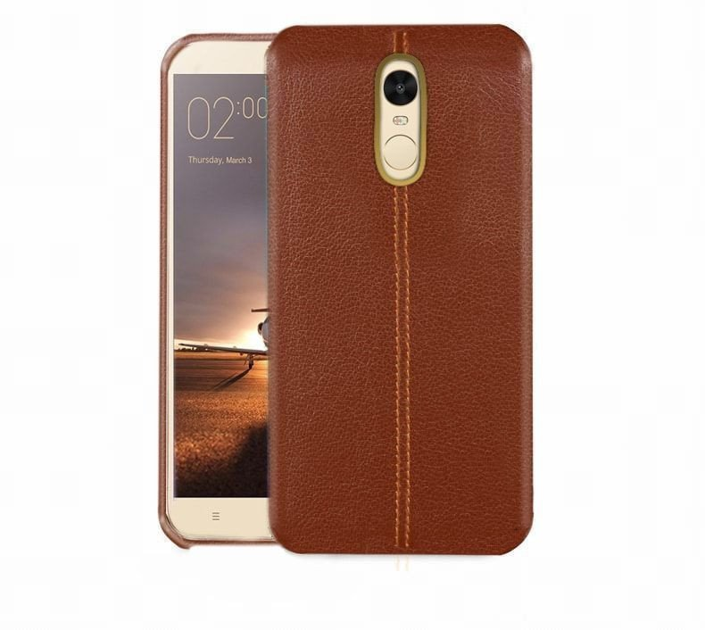 vaku redmi note 4 lexza series double stitch leather shell with metallic logo display back. Black Bedroom Furniture Sets. Home Design Ideas