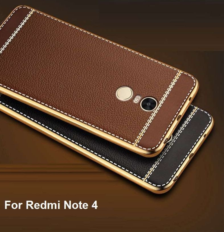 Vaku 174 Xiaomi Redmi Note 4 Leather Stiched Gold