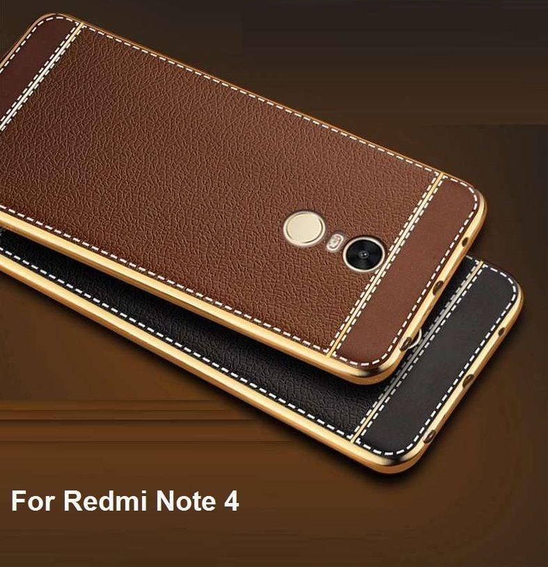 VAKU R XIAOMI Redmi Note 4 Leather Stiched Gold