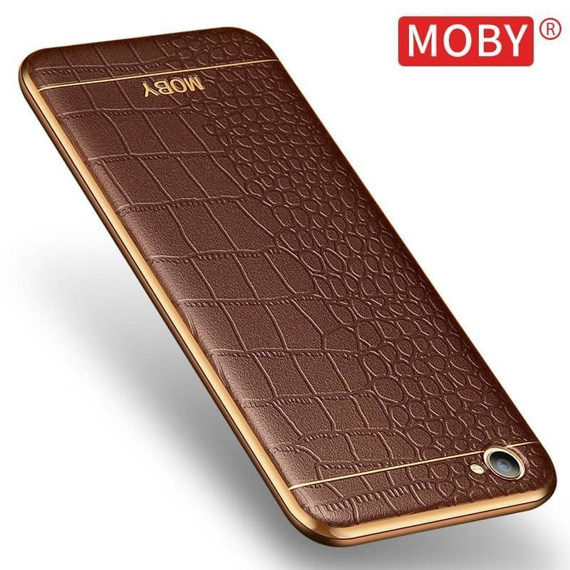 differently aaae2 5551c VAKU ® OPPO F1S European Leather Stiched Gold Electroplated Soft TPU Back  Cover