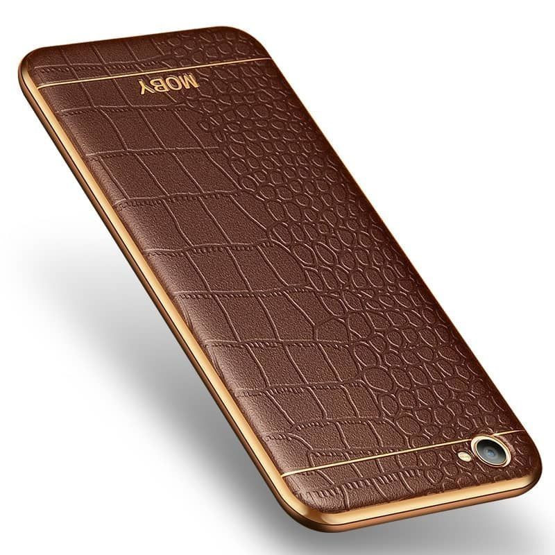 brand new d97a4 a4bcc Vaku ® Vivo Y53 European Leather Stitched Gold Electroplated Soft TPU Back  Cover