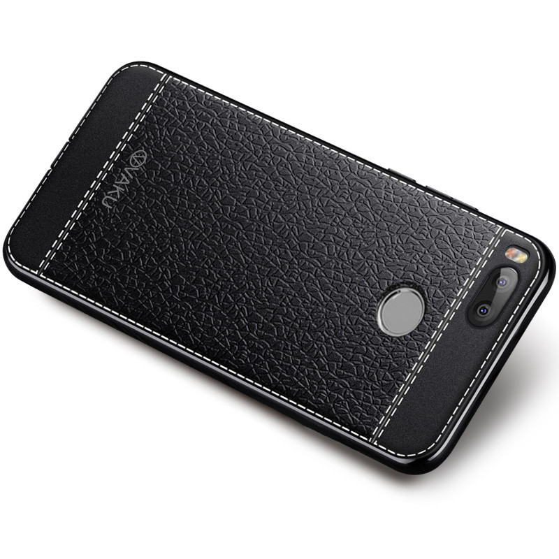 best website b8db3 a776c Vaku ® Xiaomi Mi A1 Leather Stitched Gold Electroplated Soft TPU Back Cover