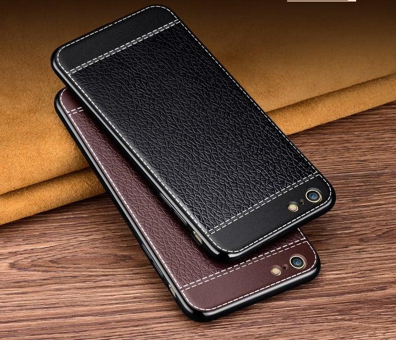 best service 8a212 b1297 VAKU ® VIVO V5 / V5s Leather Stiched Gold Electroplated Soft TPU Back Cover