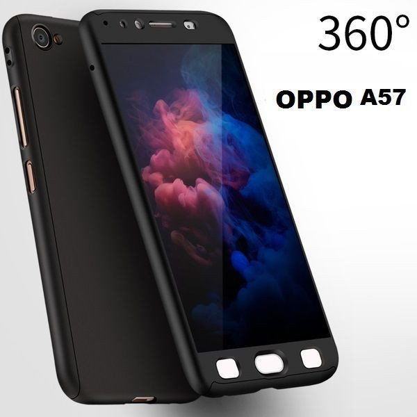 meet 48be3 a338e Vaku ® Oppo A57 360 Full Protection Metallic Finish 3-in-1 Ultra-thin Slim  Front Case + Tempered + Back Cover