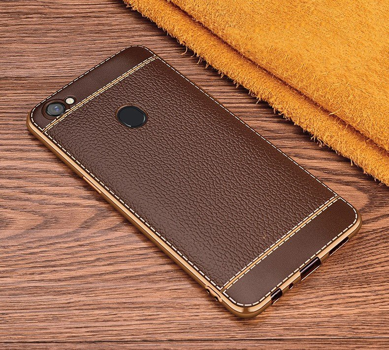 huge selection of f0465 97c74 Vaku ® Oppo F5 Youth Leather Stitched Gold Electroplated Soft TPU Back Cover