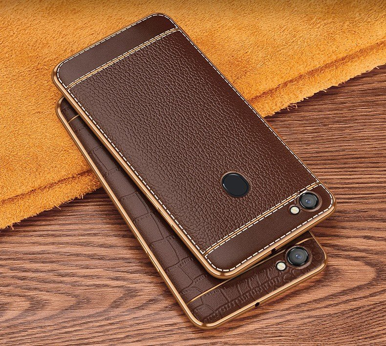 huge selection of 1b2ed af6e3 Vaku ® Oppo F5 Youth Leather Stitched Gold Electroplated Soft TPU Back Cover