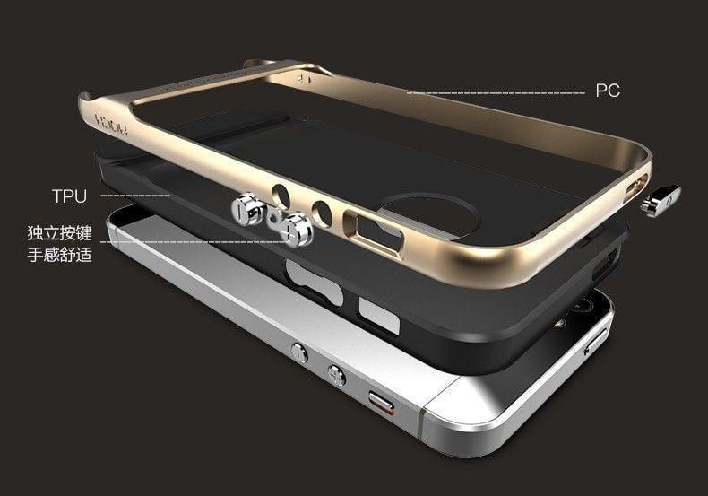 more photos 44ebf 63697 Rock ® Apple iPhone 5 / 5S / SE Royle Case Ultra-thin Dual Metal ...
