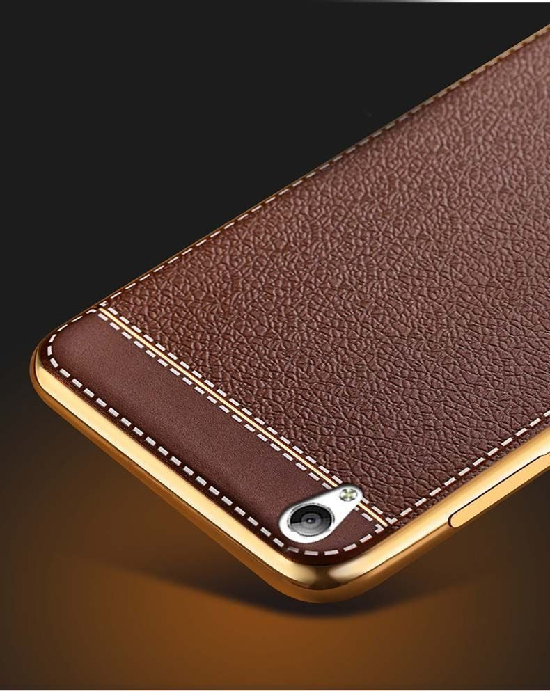 Vaku  U00ae Oppo A37 Leather Stiched Gold Electroplated Soft