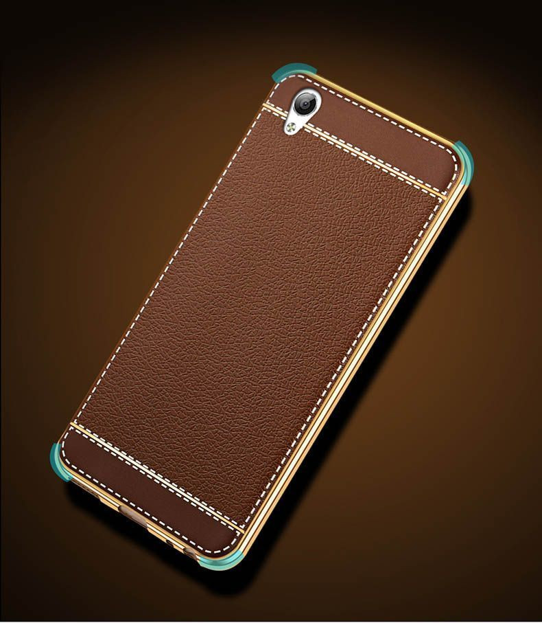 new products f9fbe 81473 Vaku ® Oppo F1 Plus Leather Stitched Gold Electroplated Soft TPU Back Cover
