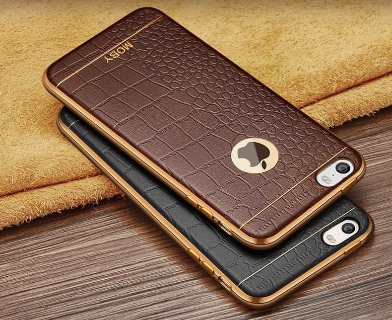 separation shoes cc8e2 ac8bc VAKU ® Apple iPhone 5 / 5S / SE European Leather Stiched Gold Electroplated  Soft TPU Back Cover