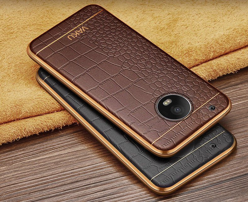 half off d7a86 595ad VAKU ® Motorola Moto G5 Plus European Leather Stiched Gold Electroplated  Soft TPU Back Cover