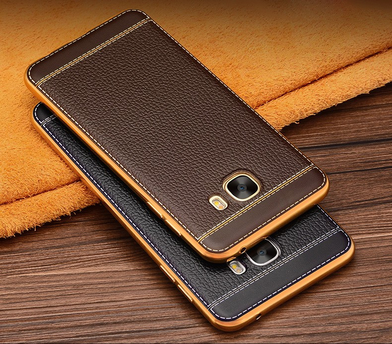 Vaku 174 Samsung Galaxy C9 Pro Leather Stitched Gold