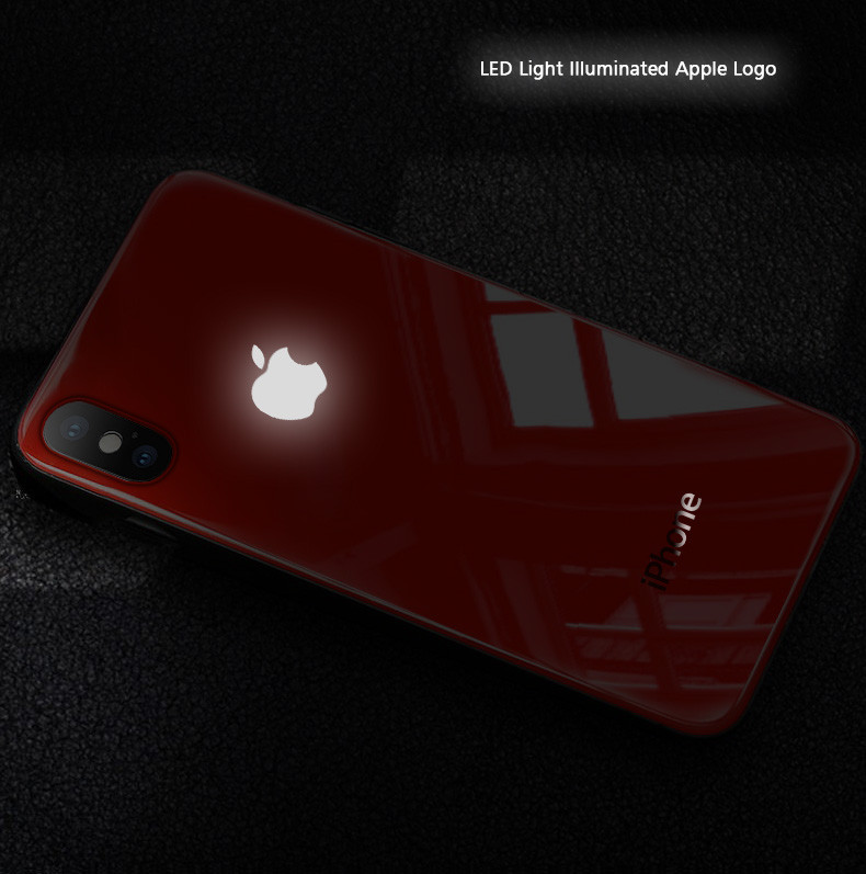 competitive price 26561 1c0f0 LEKE ® Apple iPhone X / XS Laser LED Light Illuminated Apple Logo Club  Series Case Back Cover