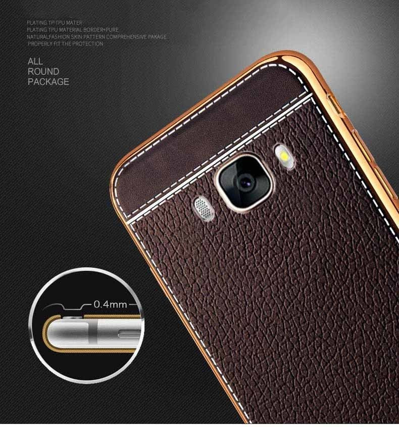 new style e306c 1b7d9 VAKU ® Samsung Galaxy ON 7 Leather Stiched Gold Electroplated Soft TPU Back  Cover