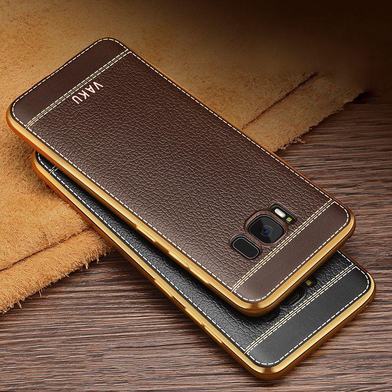 Vaku 174 Samsung Galaxy S8 Leather Stitched Gold