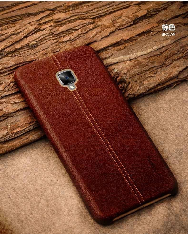 new concept da140 031d5 Vaku ® OnePlus 3 / 3T Lexza Series Double Stitch Leather Shell with  Metallic Logo Display Back Cover