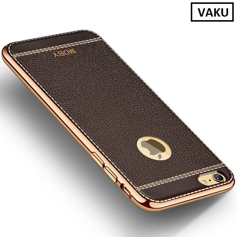 online store 2b011 e7b61 VAKU ® Apple iPhone 6 Plus / 6s Plus Leather Stiched Gold Electroplated  Soft TPU Back Cover