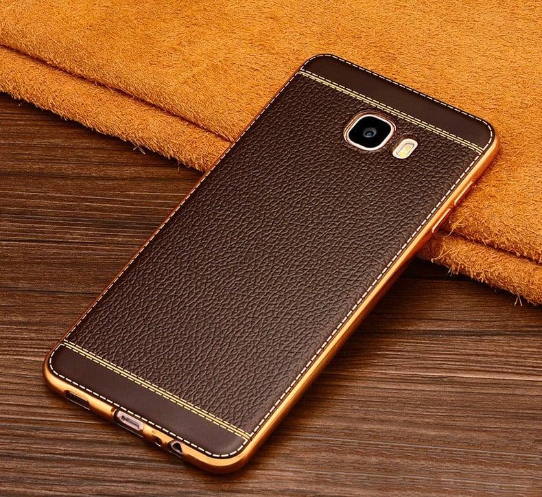 pretty nice 8a24e aca87 Vaku ® Samsung Galaxy J7 Max Leather Stitched Gold Electroplated Soft TPU  Back Cover