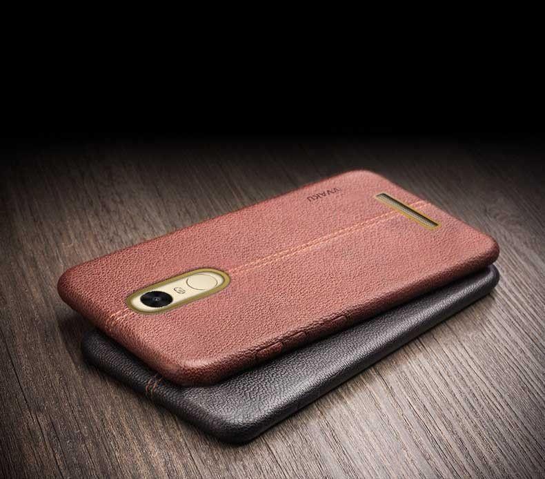 size 40 6df47 f6b6c Vaku ® Redmi Note 3 Lexza Series Double Stitch Leather Shell with Metallic  Logo Display Back Cover