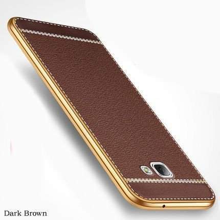 buy popular e8685 6269a VAKU ® Samsung J7 Prime Leather Stiched Gold Electroplated Soft TPU Back  Cover