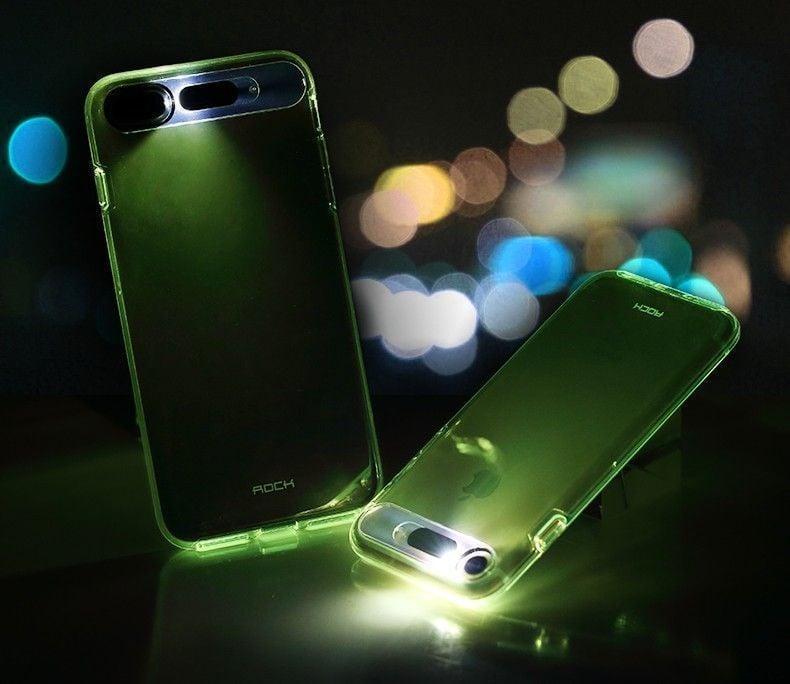 rock apple iphone 8 plus led light tube case with flash alert soft silicon case screen. Black Bedroom Furniture Sets. Home Design Ideas