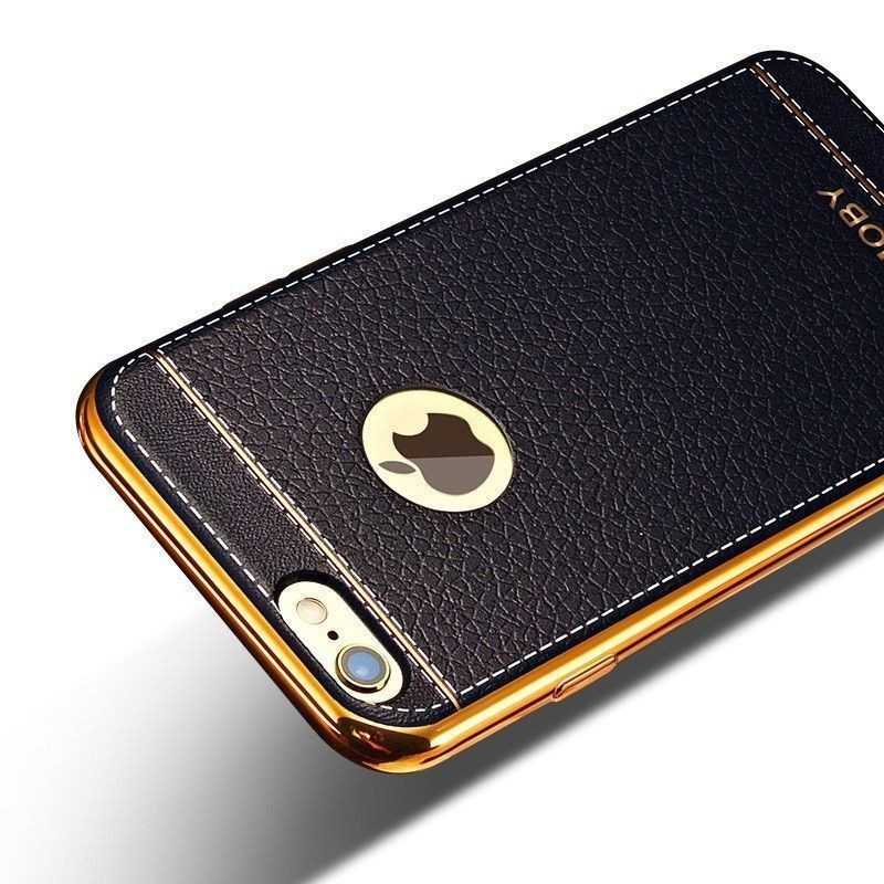 separation shoes e86f6 43c9c VAKU ® Apple iPhone 6 / 6S Leather Stiched Gold Electroplated Soft TPU Back  Cover