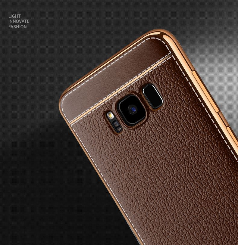 reputable site 0c722 833d1 Vaku ® Samsung Galaxy S8 Plus Leather Stitched Gold Electroplated Soft TPU  Back Cover