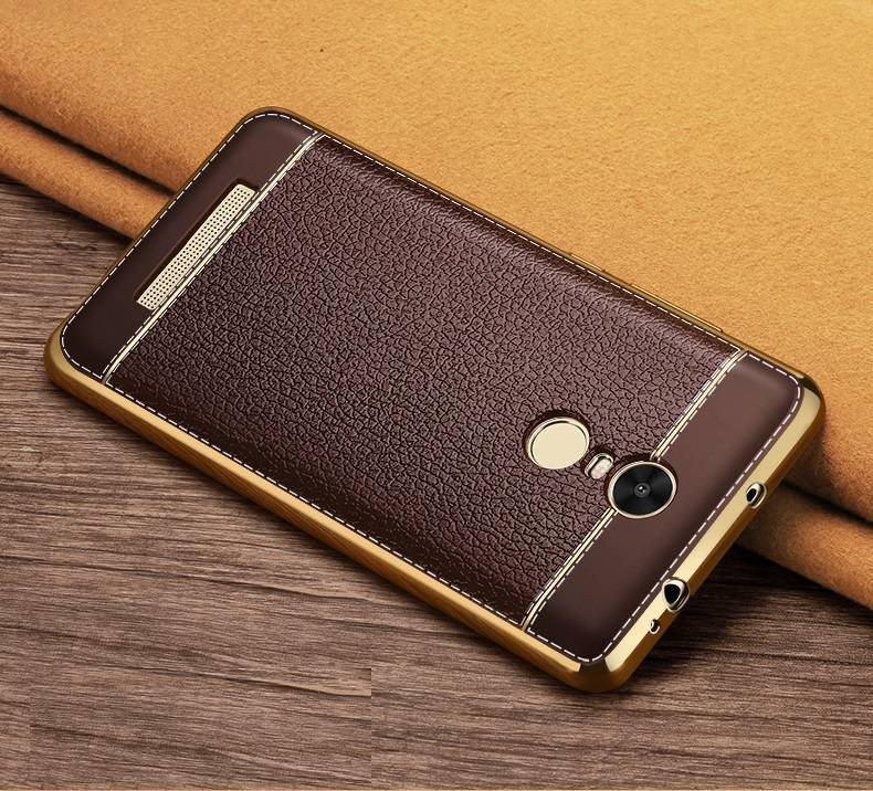 on sale 99682 59b63 VAKU ® XIAOMI Redmi Note 3 Leather Stiched Gold Electroplated Soft TPU Back  Cover