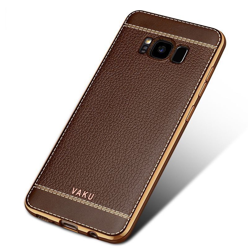 vaku samsung galaxy s8 leather stitched gold electroplated soft tpu back cover screen guards. Black Bedroom Furniture Sets. Home Design Ideas