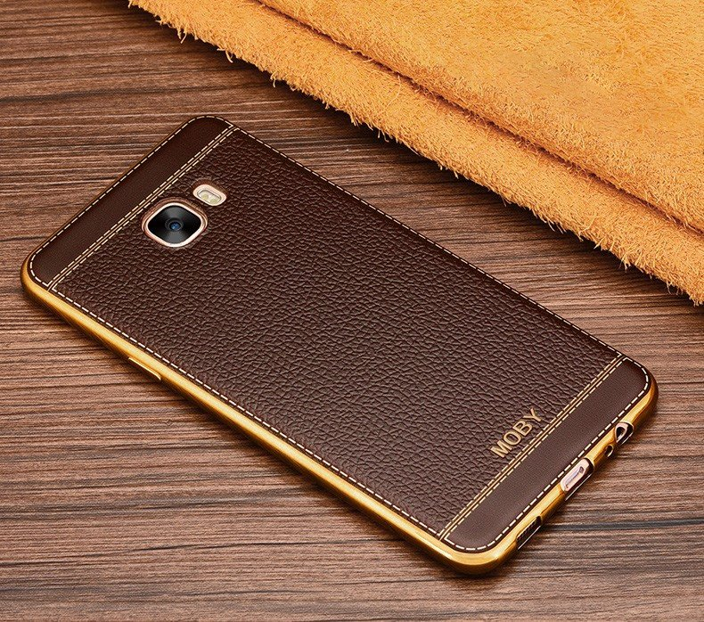 release date: ca771 3b8f8 Vaku ® Samsung Galaxy C9 Pro Leather Stitched Gold Electroplated Soft TPU  Back Cover