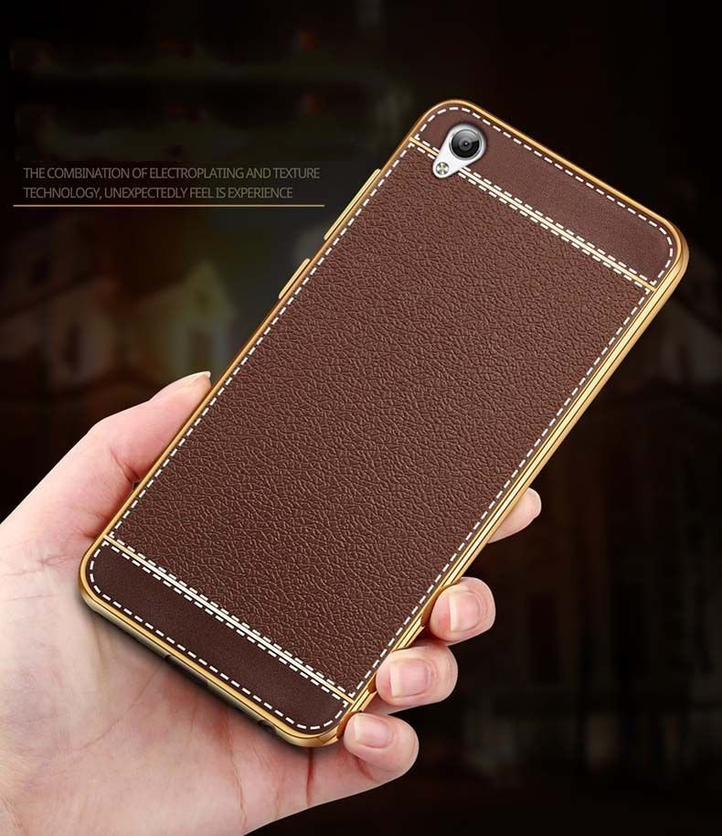 the latest 749c2 29e08 VAKU ® OPPO A37 Leather Stiched Gold Electroplated Soft TPU Back Cover