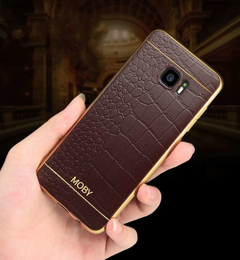 best service ae7fc 75182 VAKU ® Samsung Galaxy S6 EDGE European Leather Stiched Gold Electroplated  Soft TPU Back Cover