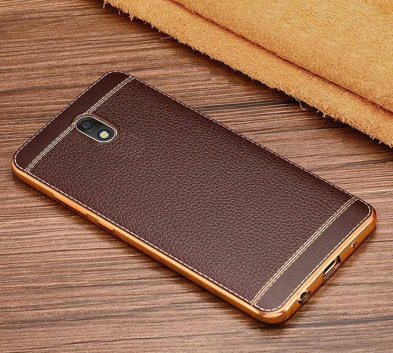 buy popular 8873e 6fcc5 Vaku ® Samsung Galaxy J7 Pro Leather Stitched Gold Electroplated Soft TPU  Back Cover