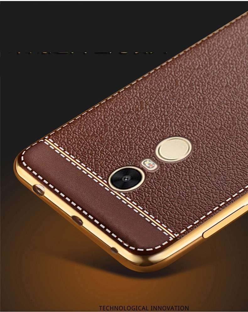 Vaku 174 Xiaomi Redmi Note 4 Leather Stiched Gold Electroplated Soft Tpu Back Cover Screen