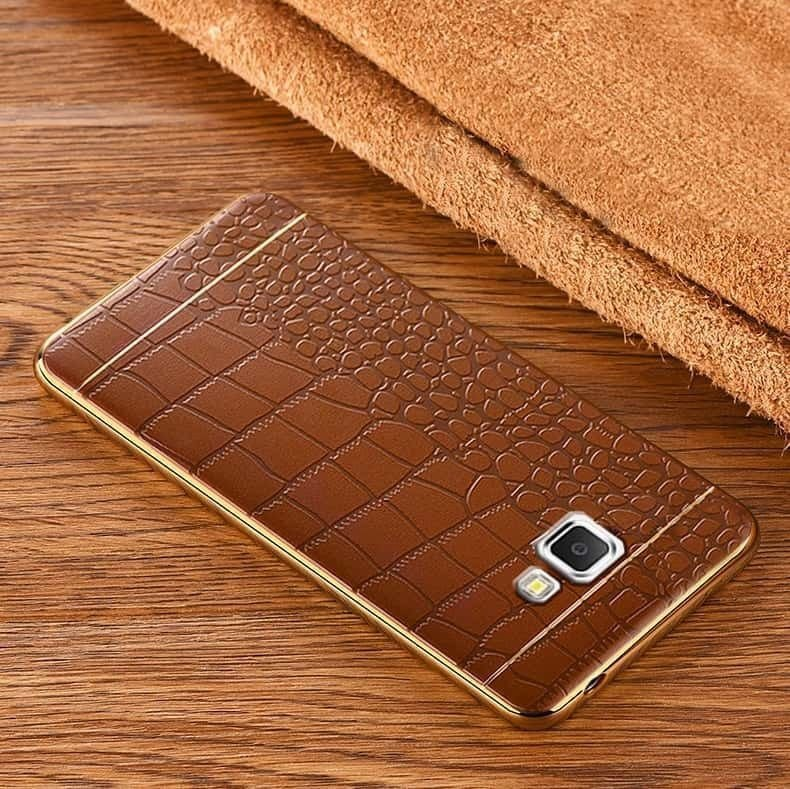 detailed look bbce2 f46a6 VAKU ® Samsung J7 Prime European Leather Stiched Gold Electroplated Soft  TPU Back Cover
