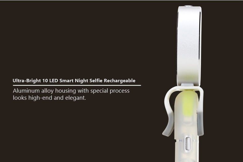Rock ® Ultra-Bright 10 LED Smart Night Selfie Rechargeable ...