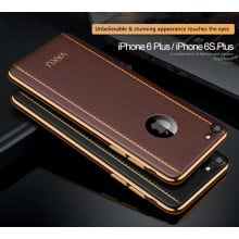 VAKU ® Apple iPhone 6 Plus / 6S Plus Vertical Leather Stitched Gold Electroplated Soft TPU Back Cover