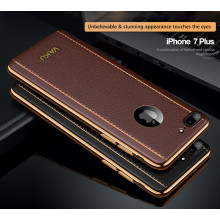 VAKU ® Apple iPhone 7 Plus Vertical Leather Stitched Gold Electroplated Soft TPU Back Cover