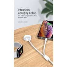 USAMS ® 2 in 1 USB Lighting Cable with Apple Watch Wireless charger