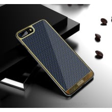 VAKU ® Apple iPhone 7 Plus Colored Carbon Fiber with Golden Electroplated layering hard PC Back Cover