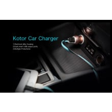 Rock ® Kotor Metallic Finish Dual-USB Fast Charging 2.4A LED Lit Car Charger